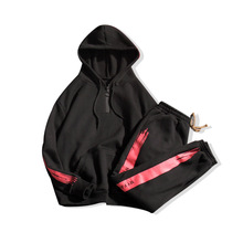 Amberheard Мода 2017 г. Демисезонный спортивные костюм Для мужчин комплект толстовки с капюшоном + штаны костюм из двух частей комплект мужской спортивной 5XL