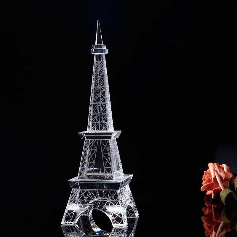 22 cm Verisimilar K9 cristal EiffelTower Figurines Miniatures verre Transparent célèbre bâtiment ornements pour cadeaux