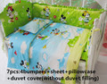 Promotion! 6/7pcs Mickey Mouse Baby Crib Bedding Sets,100% Cotton Fabrics Baby Bedding Sets