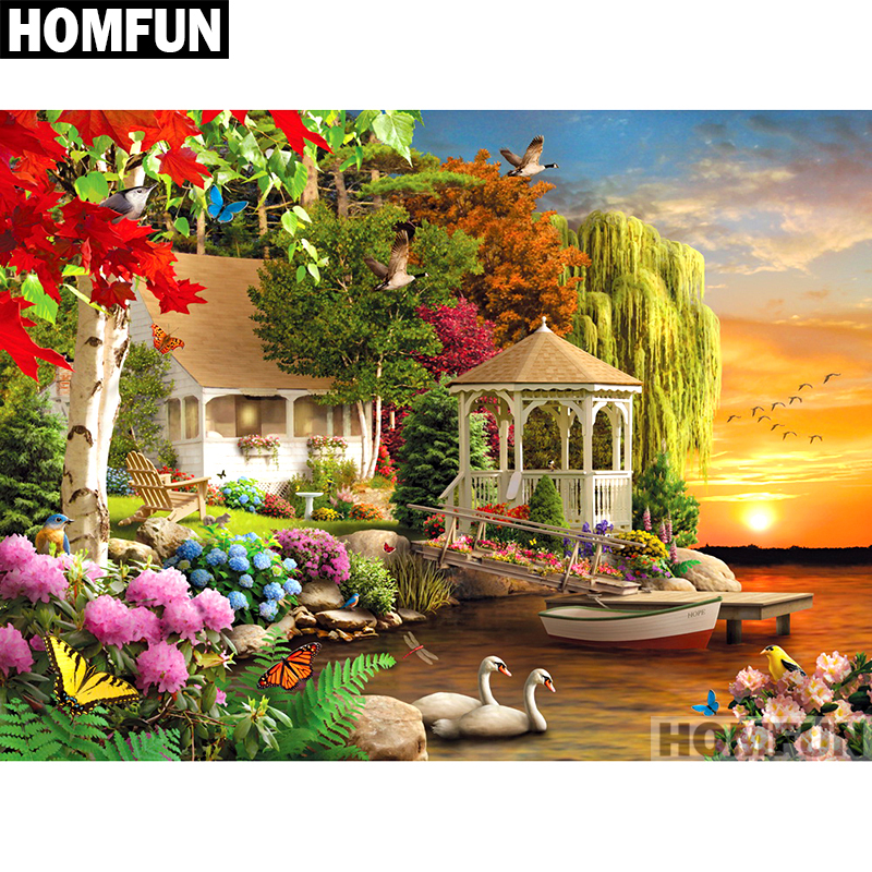 Arts,crafts & Sewing Apprehensive Homfun Full Square/round Drill 5d Diy Diamond Painting garden & House Embroidery Cross Stitch 5d Home Decor Gift A01696