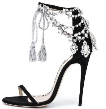 Summer Luxury Brand Bling Bling Crystal Sandals Glitter Drape Pearls Shoes Lace-up Tassel Pumps Black Suede Thin Strap Shoes