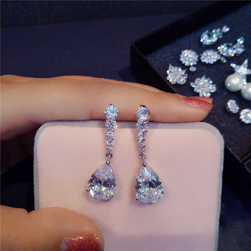Fashion Female Crystal Water Drop Earrings 925 Sterling Silver White Stone Earrings Boho Wedding Jewelry Long Dangle Earrings