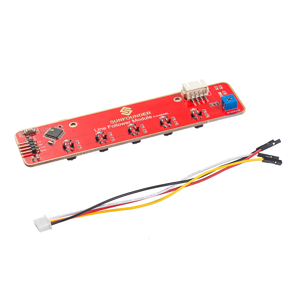 Sunfounder I2c 5 Channel Line Follower Tracking Module For Raspberry Circuit Pi Arduino Smart Car Robot Robotics Mcu Atmega328p Tcrt5000 In Demo Board Accessories
