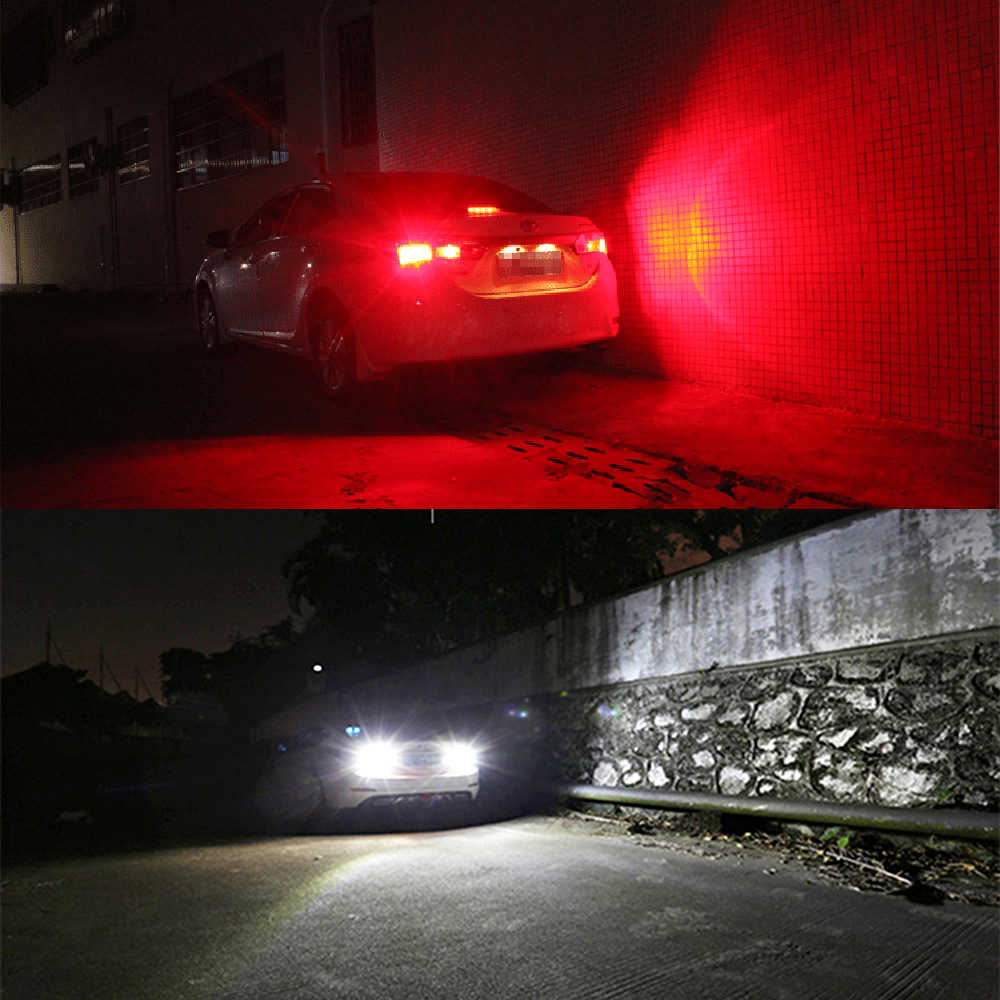 ... 2Pcs Red white 1157 2357 Strobe Flashing LED Projector Bulbs For Car  Tail Brake Lights Auto