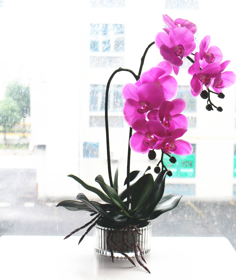1set Flower Vase Artificial Orchid Flower Arrangement