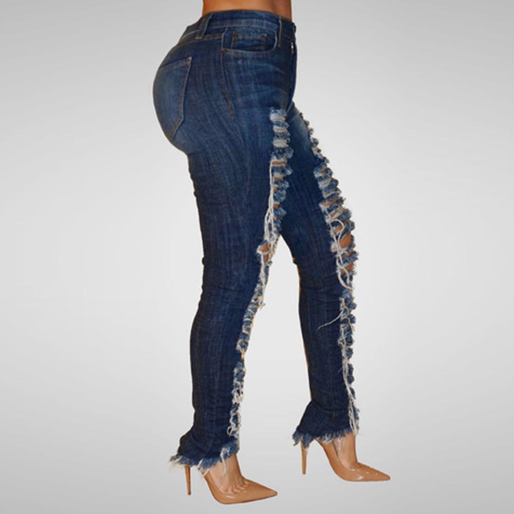 Women   Jeans   Sexy High Waist Pencil Pants Casual Blue Ripped Denim Pants Lady Skinny Long Slim   Jeans   Trouser Woman Pants