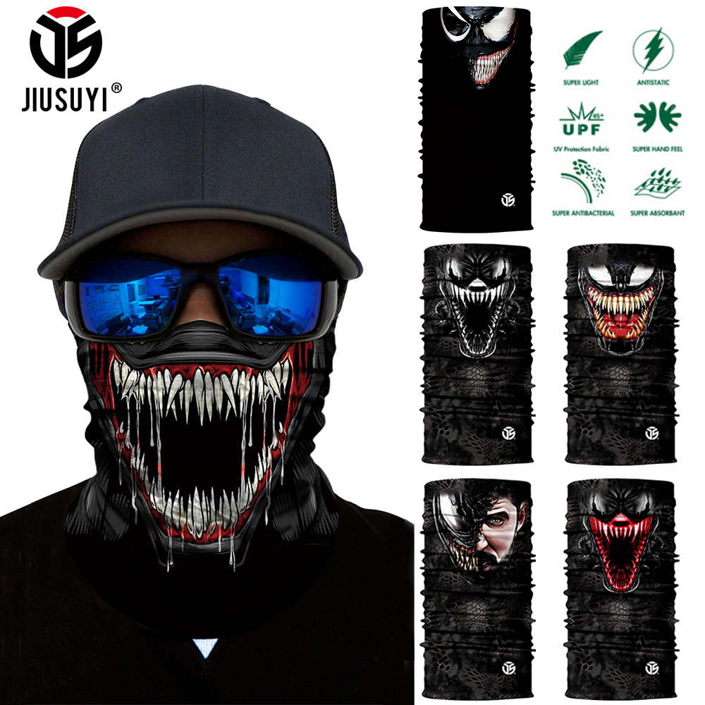 3D Seamless Venom Magic Bandana Neck Gaiter Summer Thin Tubular Ring Scarves Spiderman Sun Mask Face Shield Scarf Bicycle Men