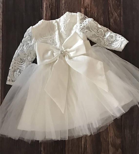 White Ivory Lace 2019 New Baby Girl Baptism Dress Flower Girl Dress Long Sleeve Christening Gown Custom Made