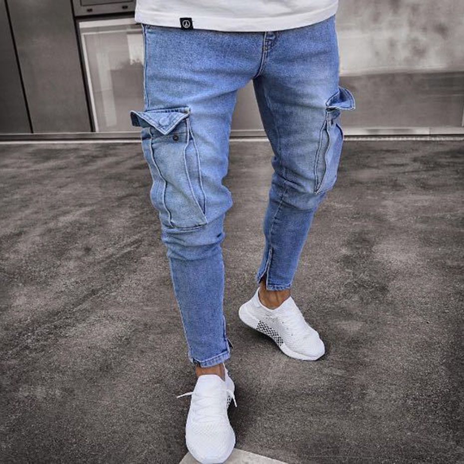 Joshua Sanchez 2017 Autumn Hole Jeans Men Skinny Ripped Distressed Jeans Plus Size Royal Blue 28