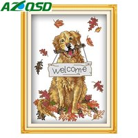 AZQSD Welcome Dog DMC Counted Cross Stitch Set 11CT&14CT Home Decor Embroidery Needlework Cross Stitch d237y