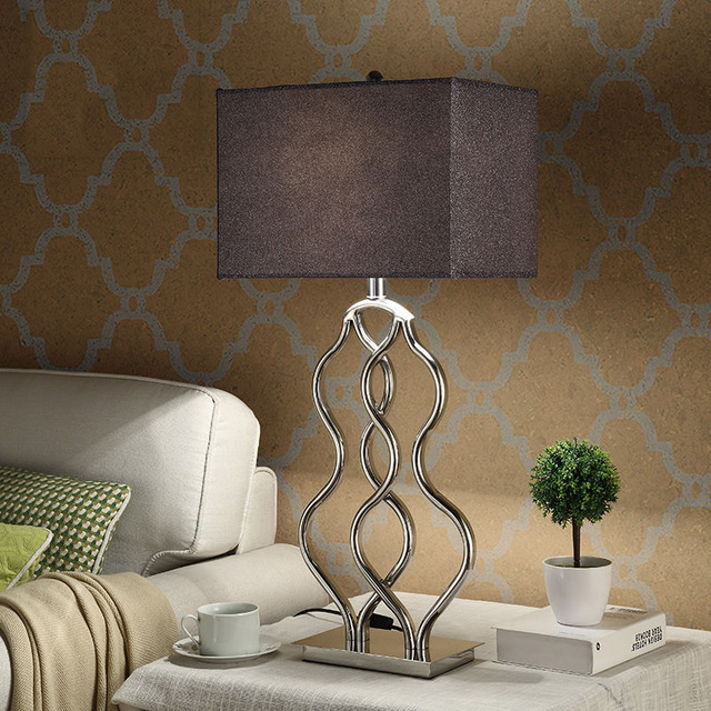 Stainless steel table lamp with fabric lampshade bedside desk lights stainless steel table lamp with fabric lampshade bedside desk lights lamparas de mesa book lamps deco aloadofball Image collections