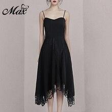 Max Spri 2019 New Spaghetti Straps Lace Asymmetrical Hemline Little Black Dress Party Midi Fashion