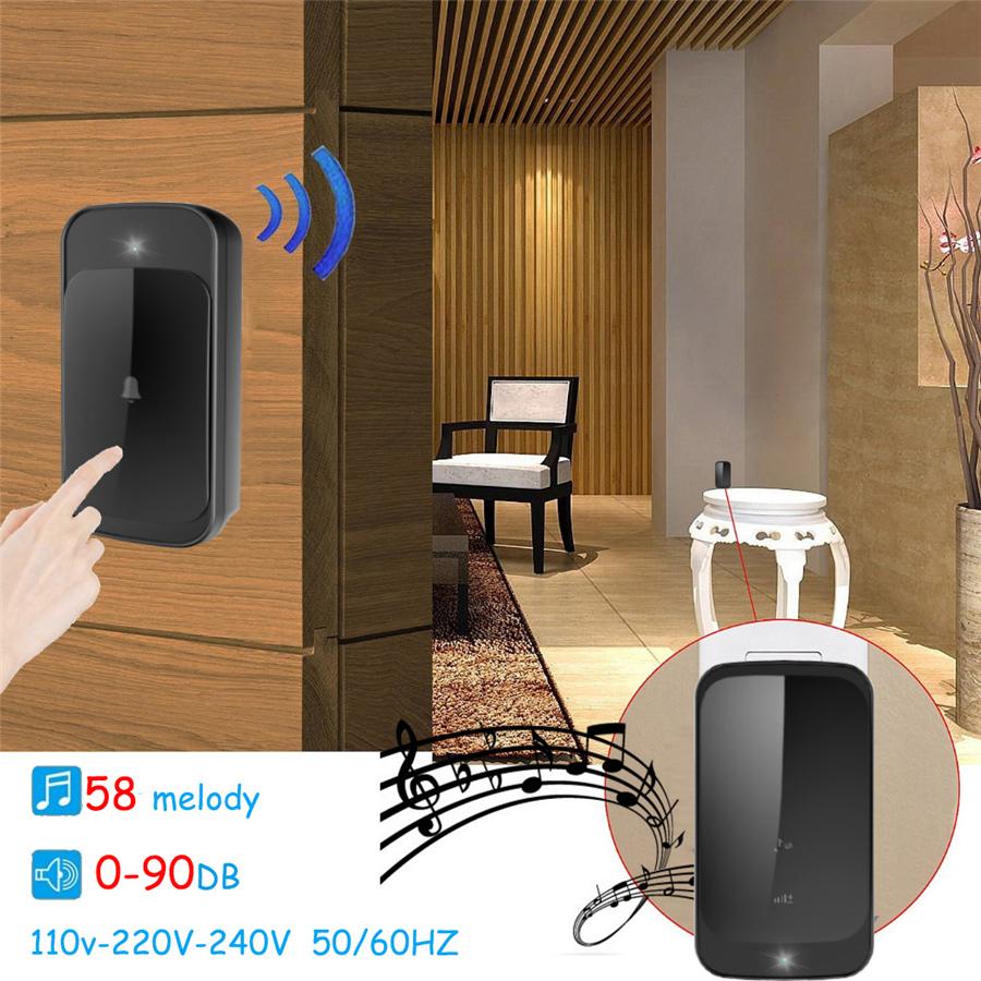 SMATRUL NEW Wireless doorbell NO BATTERY self powered waterproof LED light 51 Music 150M Remote smart Door bell chime EU Plug AC 110-220V 1 Button 2 receiver 4