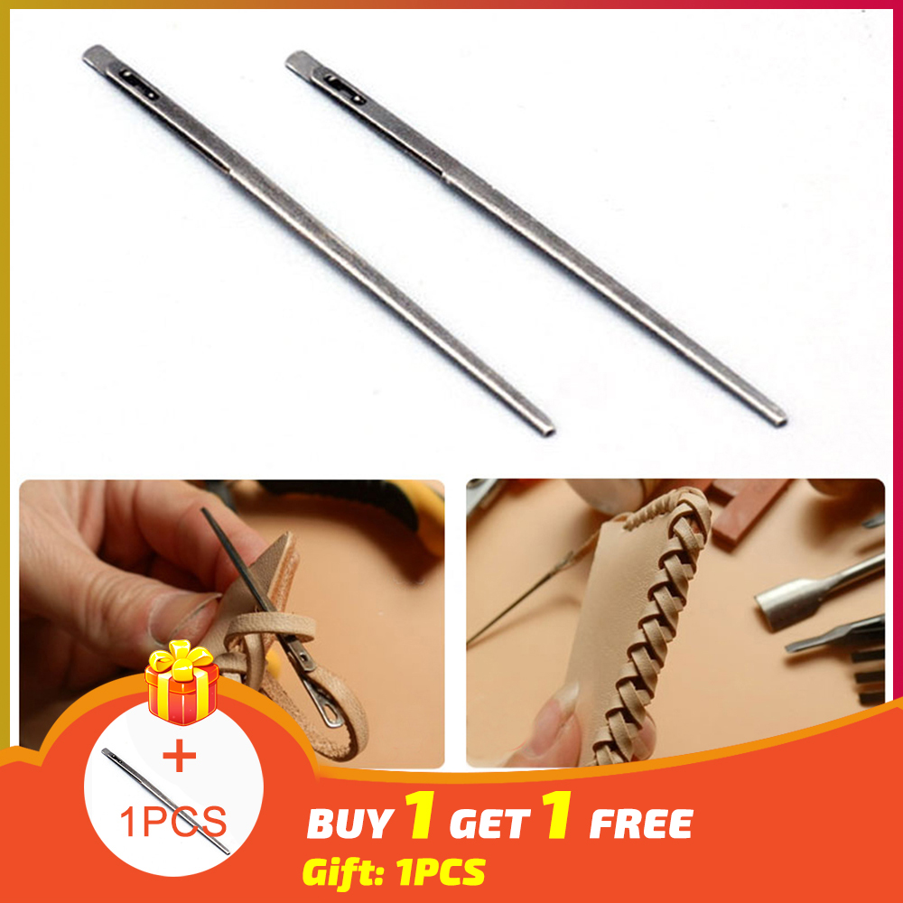 New 1pcs DIY leather sewing craft tool leather knitting needle double hole leather rope lace needle