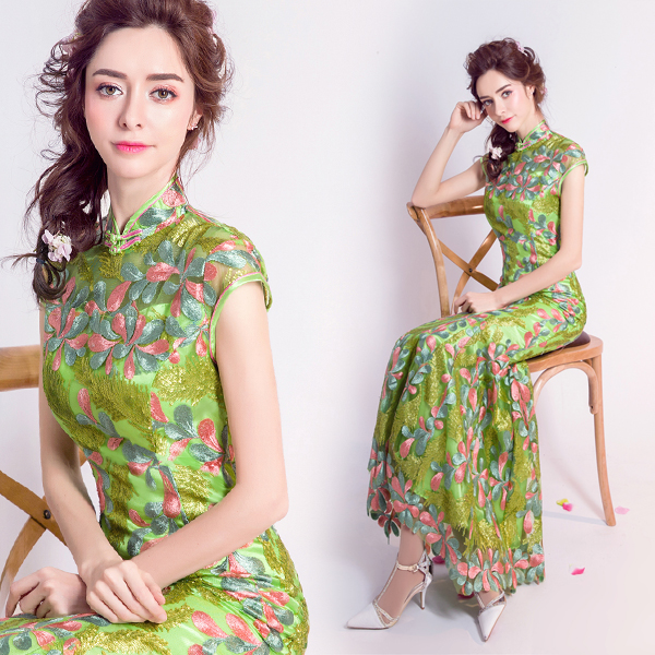 b87331e33 green traditional wedding qipao dresses cheongsam embroidered designer modern  chinese oriental women long lace plus size