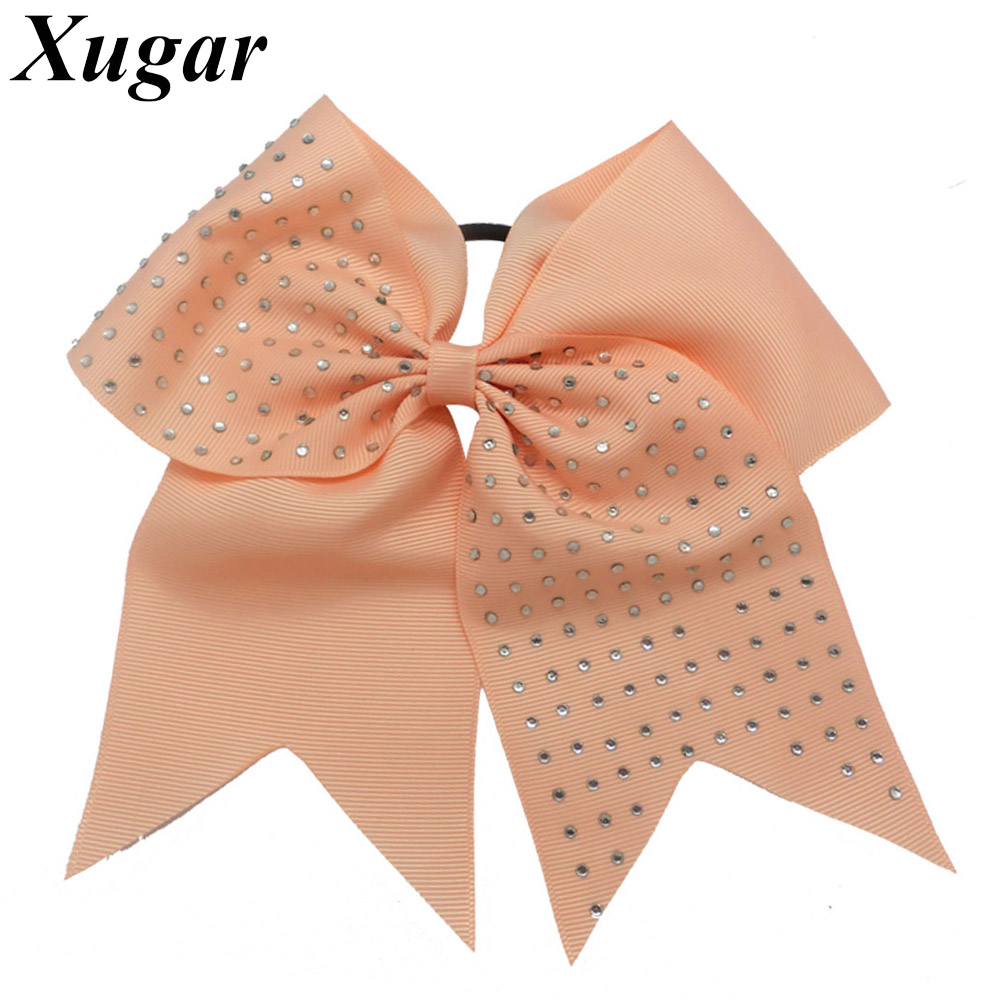 7'' Large High Quality Rhinestone Ribbon Cheer Bow For Girls Sweet Cheerleading Bow Elastic Hair Band DIY Fashion Headwear 4 high quality fashion ribbon hair bow for baby girls sweet boutique rhinestone alligator chips pearl diy hair accessories