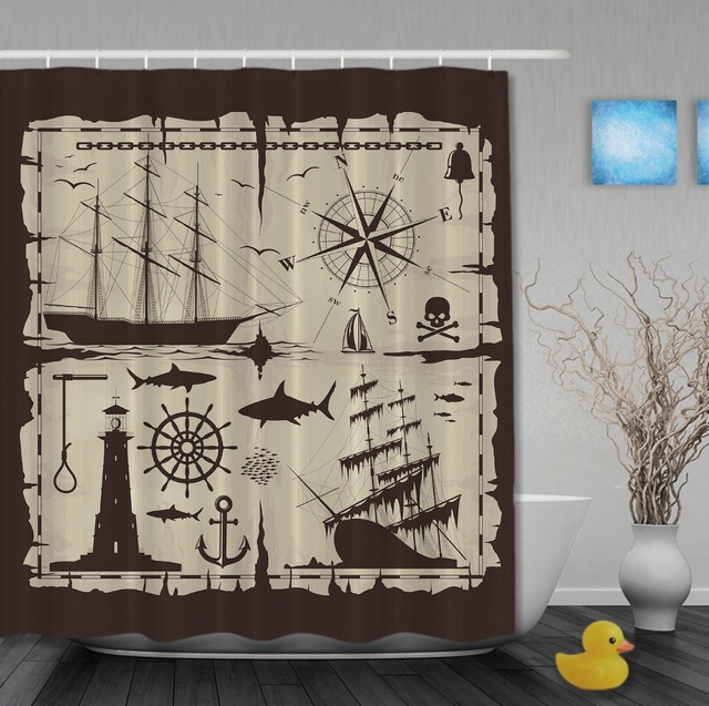 The Compass Sea Voyage Classic Shower Curtains Anti Bacterial Waterproof High Quality Custom Bathroom Curtain With Hooks