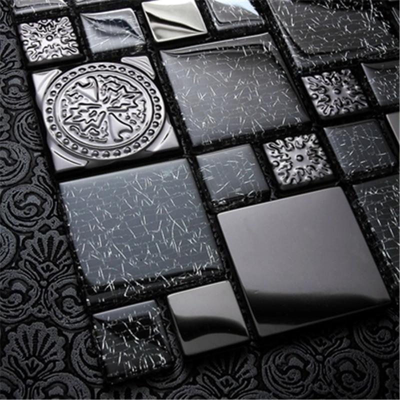 Simple Modern Art Black Metal Glass Mosaic Tiles Kitchen