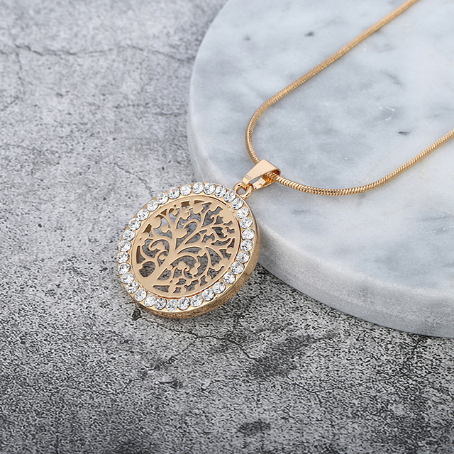 Tree Of Life Pendant Necklace Women Jewelry 2018 Fashion Bijoux Austrian Crystal Gold Color Chain Necklaces & Pendants XL06979