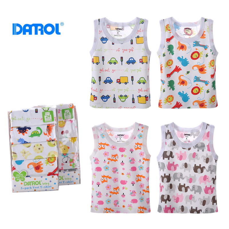 DANORL (5 pieces/lot) baby cotton underwear tees Newborn Infants vest kids sleeveless T-shirt children cartoon tops