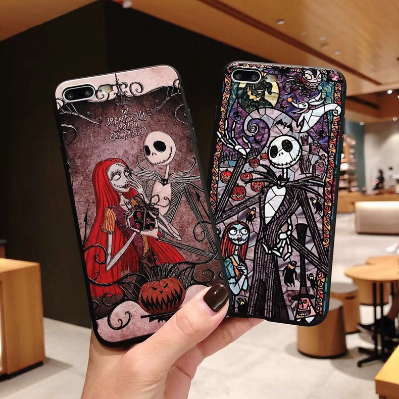 Cool Nightmare Before Christmas Pc Cases for iPhone XS Max XR XS X 8 7 Plus Jack Skellington Sally Holloween fundas Coque iphone