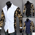 2016 New European-style collar spell spell color long-sleeved shirt sleeve style gold sleeve shirt men Slim Tops Casual