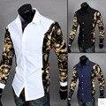 2016 novo estilo europeu feitiço colar cor feitiço de mangas compridas camisa do estilo manga ouro camisa de manga homens magro Tops casuais