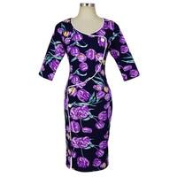 BLINGSTORY European Vintage Autumn Winter New Style 3 4 Sleeve Floral Dress Women S Clothes Vestido