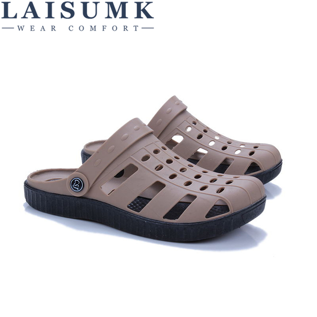 حذاء رجالي صيفي LAISUMK موديل 2020 صندل رجالي برقبة على الكاحل مناسب للشاطئ مصنوع من البلاستيك بتصميم مفرغ ونعال رجالية غير رسمية 3