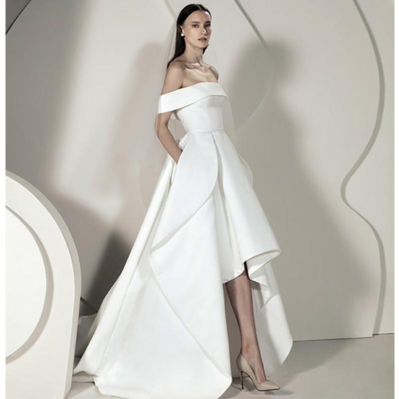 Verngo High/Low Wedding Dress Soft Satin Wedding Gowns Elegant Off The Shoulder Bride Dress Vestido De Noiva Sereia
