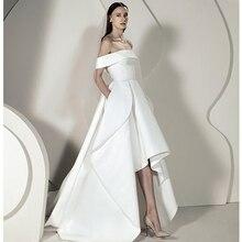 Verngo yüksek/düşük düğün elbisesi yumuşak saten gelinlikler zarif kapalı omuz gelinlik Vestido De Noiva Sereia