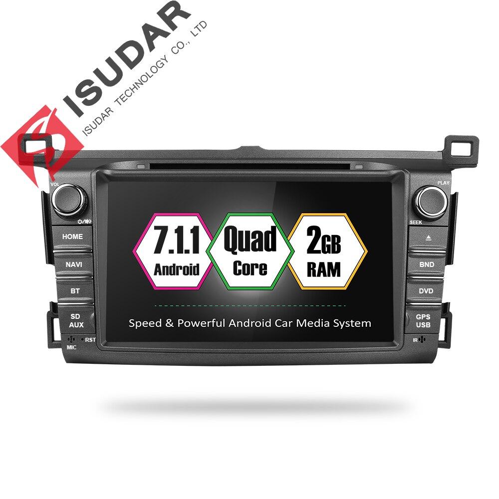 цена на Isudar Car Multimedia player 2 din Auto DVD android 7.1.1 8 Inch For Toyota/RAV4 2013- Quad Core 2GB RAM 16GB ROMRadio FM GPS