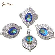 Rainbow Mystic Circonita 925 Plata Sterling Colgantes/Anillo/Pendientes de la Joyería de Las Mujeres tamaño 6 7 8 9 S275