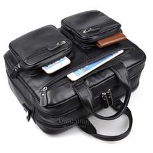 Brand men bag genuine leather handbag with 2 external trendy zipper pockets multiple layers space men leather shoulder bag