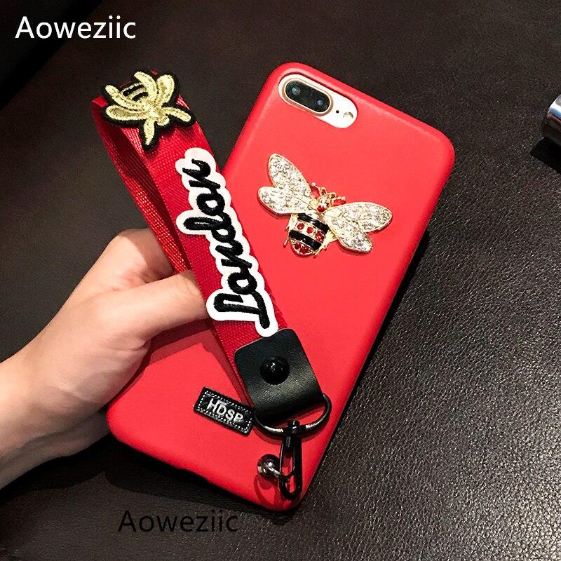 Aoweziic Tide marchio di cuoio di lusso ape strass per iphone7 8 6 splus X cassa del telefono mobile soft shell con cordino appeso collo