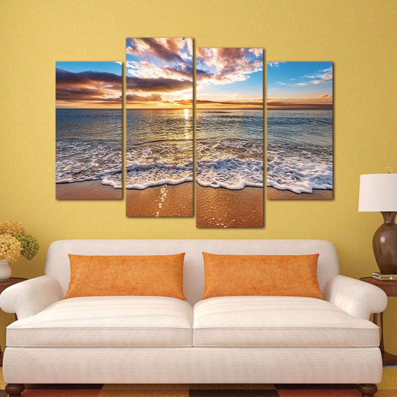 4 pieces Modular Pictures Modern Seascape Painting Canvas Art HD Sea - Home Decor - Photo 4
