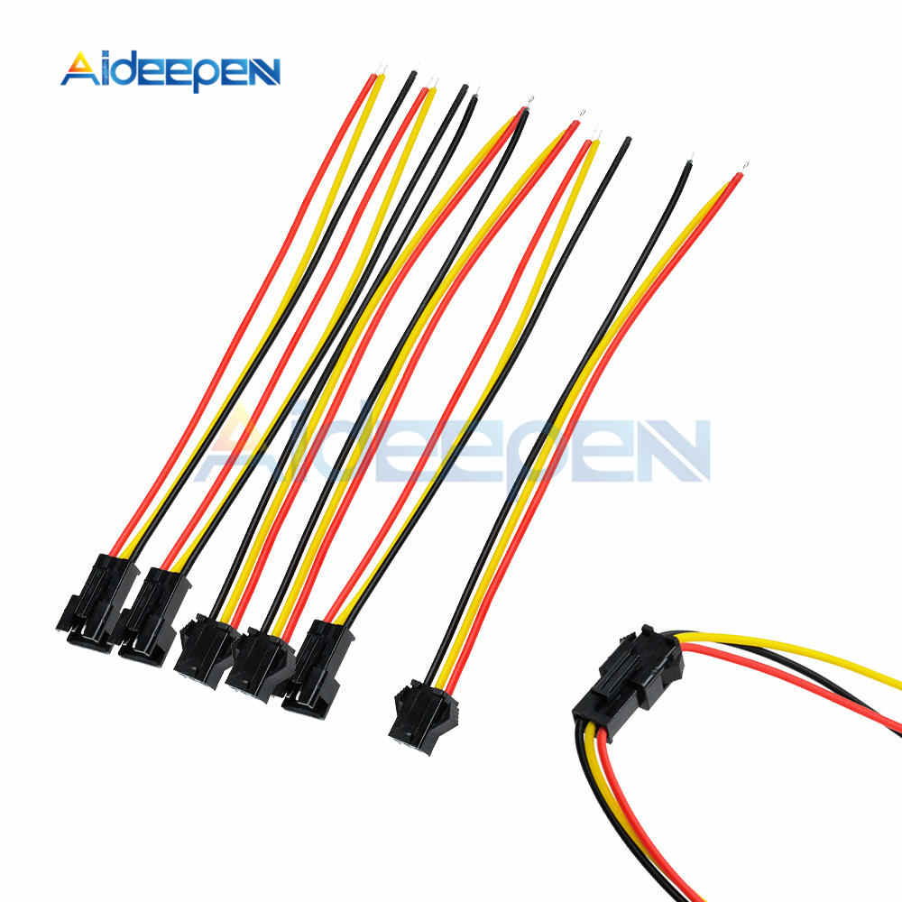 5 Pairs 10CM/15CM/30CM Long JST SM 3 Pin 3 Pins Plug Male to Female Wire Connector for LED Light Lamp