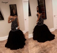 Sparkly Crystal Beading Mermaid Prom Dresses 2019 Sweetheart Tulle Black Gold Evening Party Gowns African Black Girl