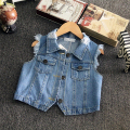 2016 summer new style hole baby girls denim vest unisex children denim jacket suit 2-7T colete menina boys vest