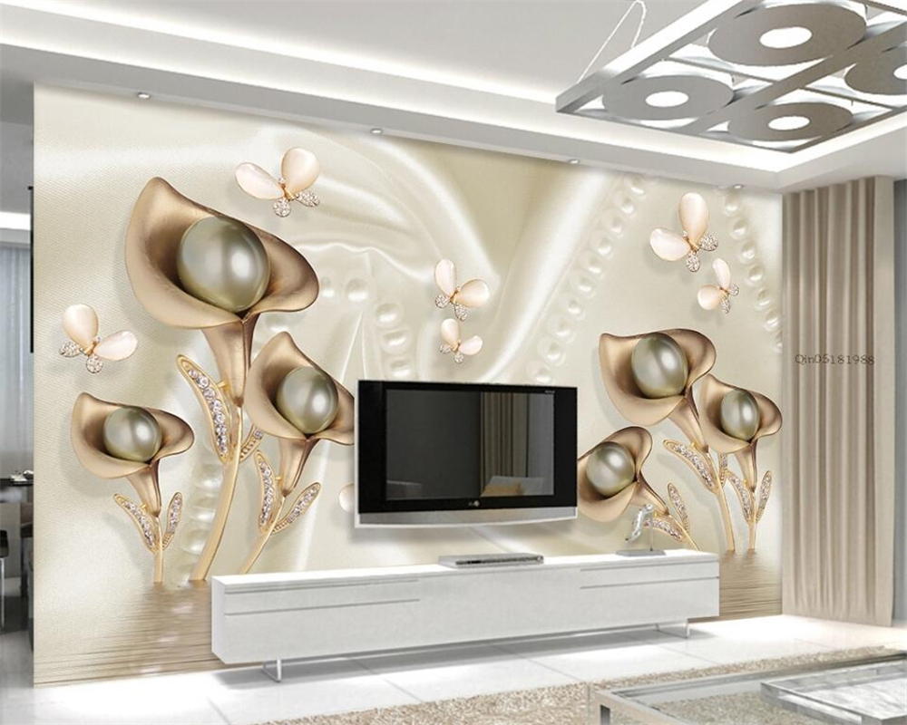 Beibehang Custom Wallpaper 3d Calla Leaf Butterfly Silk Water Reflection Room Living Room Bedroom TV wallpaper for walls 3 d