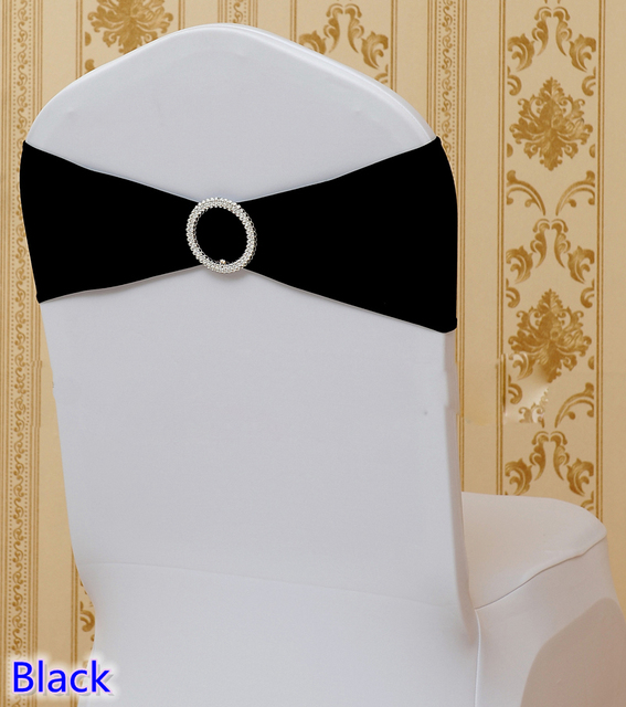 gold chair covers with black sash tommy bahama beach chairs bjs colour wholesale round buckles for spandex band lycra bow tie wedding decoration