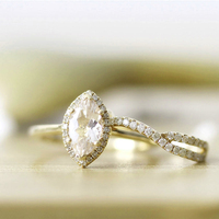 14K Yellow Gold Marquise Moissanite Engagement Ring Sets 1 4CTW 5X10MM For Women In Fine Jewelry
