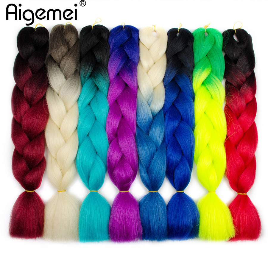 Hair-Extensions Jumbo Braids High-Temperature-Fiber Aigemei Ombre 24inch 100g