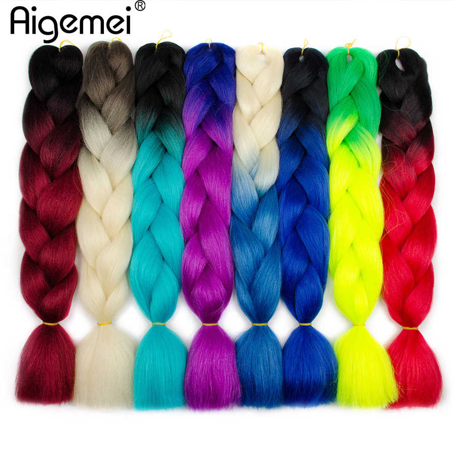 Aigemei High Temperature Fiber Jumbo Braids Ombre Synthetic Braiding Hair Extensions 100g 24inch