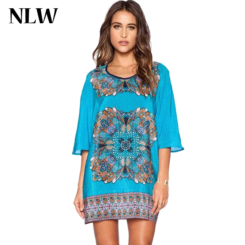 Nlw 2015 New Summer Women Style Dresses Half Sleeve Geometric Pattern Print Dress Vintage Loose