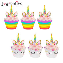 JOY-ENLIFE 48pcs Cute Rainbow Unicorn Cupcake Cake Wrappers Toppers Baby Shower Kids Children Birthday Party Decorative Supplies