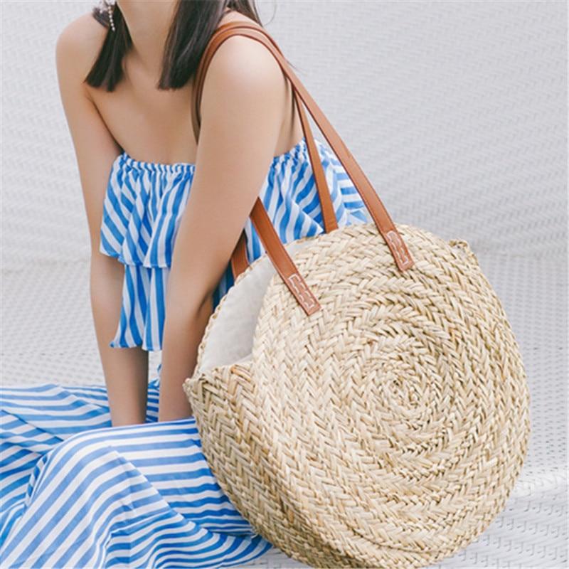Fashion Round Straw Bags Rattan Women Shoulder Bags Casual Wicker Woven Handbags Moroccan Palm Basket Beach Bag Summer Big Tote