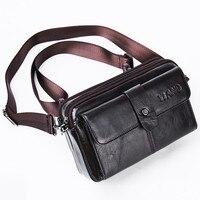 High Quality Men Hip Bum Belt Waist Chest Fanny Pack Multi Pocket Wallet Purse Genuine Leather Cowhide Small Shoulder Bag