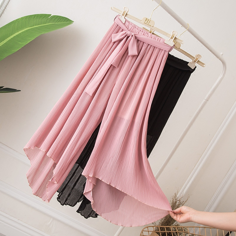 2019 Summer Bow Sashes Pleated Chiffon   Pants   Women Drawsting Loose Thin   Wide     Leg     Pants   Beach High Waist Plus Size trousers Mw624