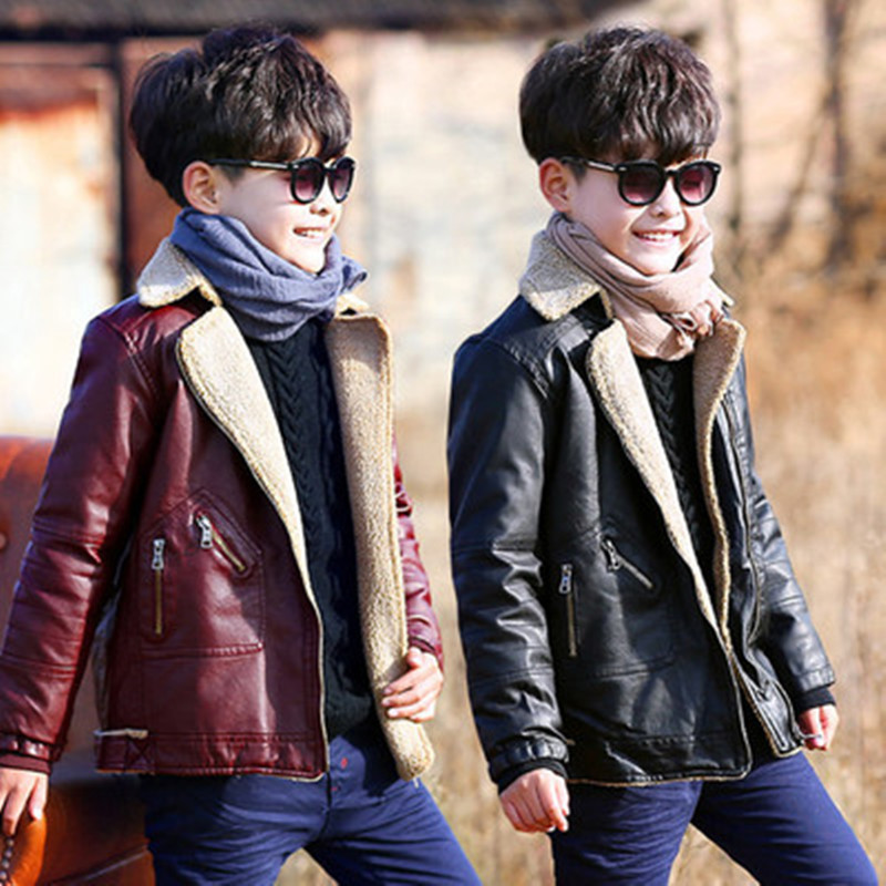 Wholesale Winter Children Pu Leather Jacket Thicker with Velvet Turn-down Collar Boys Fashion Coats for Girls Kids Outwear Black стоимость